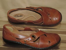 CLARKS 7 M Tan Leather Mary Jane Hook Loop  Loafer 26069125