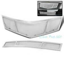 10 11 12 CADILLAC SRX FRONT UPPER + BUMPER MESH GRILLE INSERT COMBO CHROME 2PCS