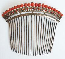 Peigne diadème en corail vermeil 19e s silver comb tiara peineta bijou coral