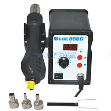 YOUYUE Hot Air Gun Rework Station SMD Solder Soldering Digital 3 Nozzles 858D