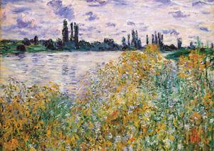 Landscape at Vetheuil - C.Monet - A3 29.7x42cm Canvas Art Print Poster Unframed