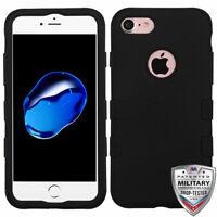 MyBat Rubberized TUFF Hybrid Case for Apple iPhone SE2/8/7 - Black/Black