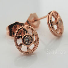 18ct 18K Rose Gold Filled Open Round Oval CZ Crystal Stud Earrings UK New 244