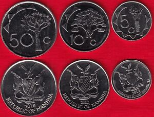 Namibia set of 3 coins: 5 - 50 cents 2010-2012 UNC