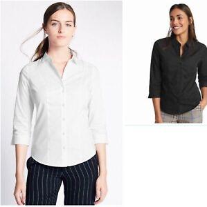 M&S Womens Non Peep Placket Easy Iron Cotton Stretch Black White 10 Work Shirt
