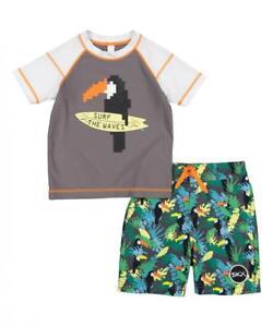 Skechers Boys Gray Two-Piece Rashguard Swim Set Size 2T 3T 4T 4 5 6 7