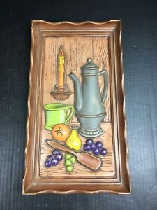 Vintage Rustic Country Home Kitchen Ceramic Wall Plaque Coffee Pot Fruit Candle