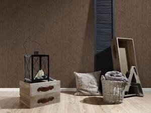 Wallpaper Wood Effect Wooden Grain Dark Brown Walnut Vinyl Boho Love 36332-4 WOW