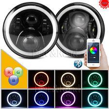 Cree 7'' RGB LED Headlight Bluetooth Control Halo DRL H/L Beam For 76-16 Jeep JK