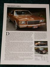 ★★1978 CHEVY MONTE CARLO SPEC SHEET INFO PHOTO 78 305 SPORT COUPE★★