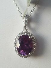 Alexandrite Oval Cut And White Sapphire Pendant 10kt Solid White Gold