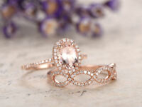 2CT Oval Cut Peach Morganite Bridal Engagement Ring Set 14k Rose Gold Finish