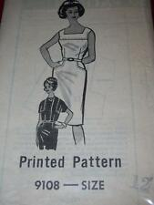 50s READER MAIL #9108-LADIES SLEEVELESS SUMMER DRESS & SHRUG JACKET PATTERN 12uc