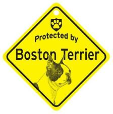 Protected by Boston Terrier Dog Window Sign Made in Usa