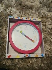 Children's Pink Learn To Tell The Time Wall Clock