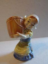 Cute Vintage Royal Copley Blue Yellow  Dutch Girl with Bucket  Planter Vase