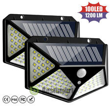 100 LED Solar Power Wall Light Motion Sensor Waterproof Outdoor Garden Lamp