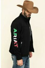 Mens Ariat Soft Shell Team Logo Jacket Mexico Theme Black Size SMALL