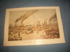 "Currier & Ives Reprint ""The Levee,New Orleans 1884~TRAVELERS CALENDER PRINT 1949"