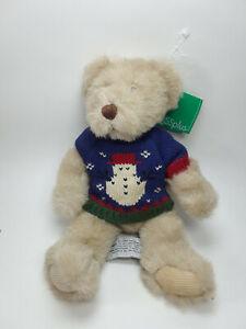 Russ Plus Teddy Bear In Snowman Sweater Sitting Plush Stuffed Animal Decor 10''