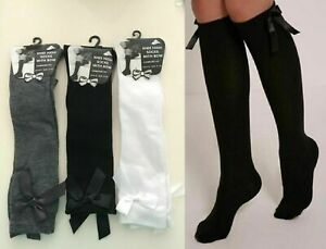 NEW GIRLS FASHION COTTON KNEE HIGH CHILDREN KIDS SCHOOL SOCKS WITH BOW in Pairs