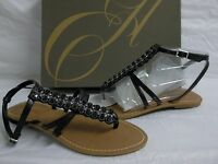 Enzo Angiolini Size 6 M Foxie Black Leather T Strap Sandals New Womens Shoes