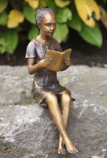 LEYENDO niña Sentado Taburete borde Escultura De Bronce boan-2208