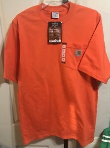 ~ NEW w/Tags Carhartt Heavy Weight Pocket T-Shirt Orange SMALL ~