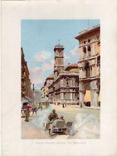 Stampa antica MILANO PIAZZA DUOMO ang PIAZZA MERCANTI automobile 1905 Old Print