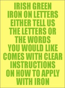 Two Inch Irish Green Iron On Characters - Letters or Numbers Vinyl Printing