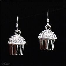 Mini Cupcake Baker Cake Drop Earrings Fashion Jewelry Austrian Crystal Clear 3D