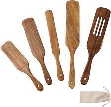 Wooden Spurtle Set 5 Pcs Natural Teak Wooden Cooking Utensils Nonstick Cookware