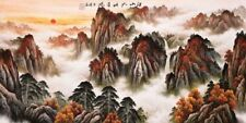 Stunning Original Famous Art Chinese Sansui Painting-Mountains view