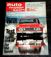 AMS 12/68 Test Ford 20 M RS, Fiat 850 Special, VW 411, BMW 2000, Opel Rekord 1,9