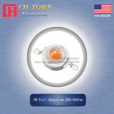 10Pcs 3W Watt High Power Full Spectrum 380-840nm LED Diodes Lamp Beads Bulb Chip