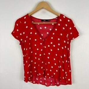 Sportsgirl Womens Top 8 Red Polka Dot Short Sleeve V-Neck Button Front