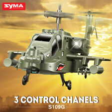Kids Toy RC Helicopter SYMA S109G 3CH Radio Remote Control Fighter Apache Green