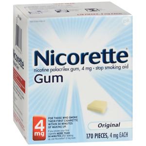 Nicorette 4mg Stop Smoking Aid Nicotine Gum, Original - 170 Count exp 06/2020