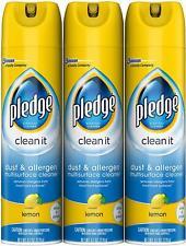 Pledge Dust & Disinfectant Multisurface Cleaner, Lemon, 9.7 oz, 3 Pack