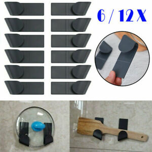 12X Wall-Mounted Pot Pan Lid Storage Holder Kitchen Utensils Organization Black