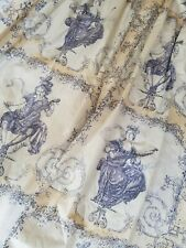 Busby&Busby Blue Toile de Jouy cotton fabric antique style goblet top Curtains