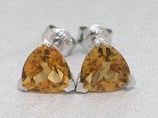Citrin Ohrstecker 585 Weißgold 14Kt Gold natürliche Citrine