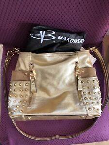 b. Makowsky Brown Tan Gold  Studded Hobo Bag