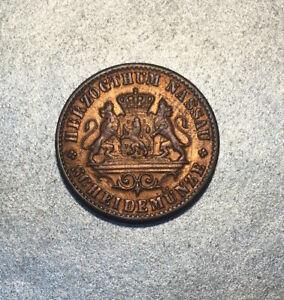 1 KREUZER 1861 GRAND duché de NASSAU / ALLEMAGNE MONNAIE EN CUIVRE