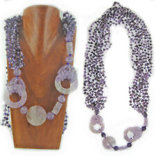 """Offerings Sajen Amethyst Chip, Donut and Cylinder Bead Necklace 48"""""""