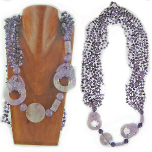 Offerings Sajen Amethyst Chip, Donut and Cylinder Bead Necklace 48""