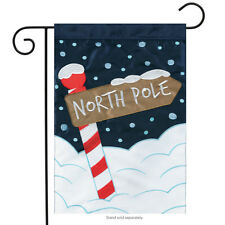 "North Pole Christmas Applique Garden Flag Embroidered Holiday 2 Sided 13"" x 18"""