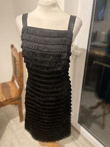 VINTAGE 50's BLACK FRINGED MINI EVENING DRESS UK 12 MEDIUM