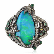 0.96ct Pave Diamond Emerald Doublet Opal Gold Ring 925 Sterling Silver Jewelry