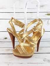 New Report Signature Madera Heels Women's Size 7.5 Gold Leather Platform Shoes